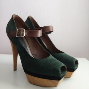 Marni Suede Green Brown Platform Peep-toe Pumps